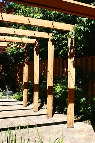 Photo of Contemporary Pergola – This very simple, contemporary pergola incorporates 3/8″ …