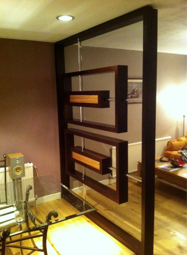 Custom made living room divider made of wenge and zebrano veneer for the home pinterest for Living room partition furniture