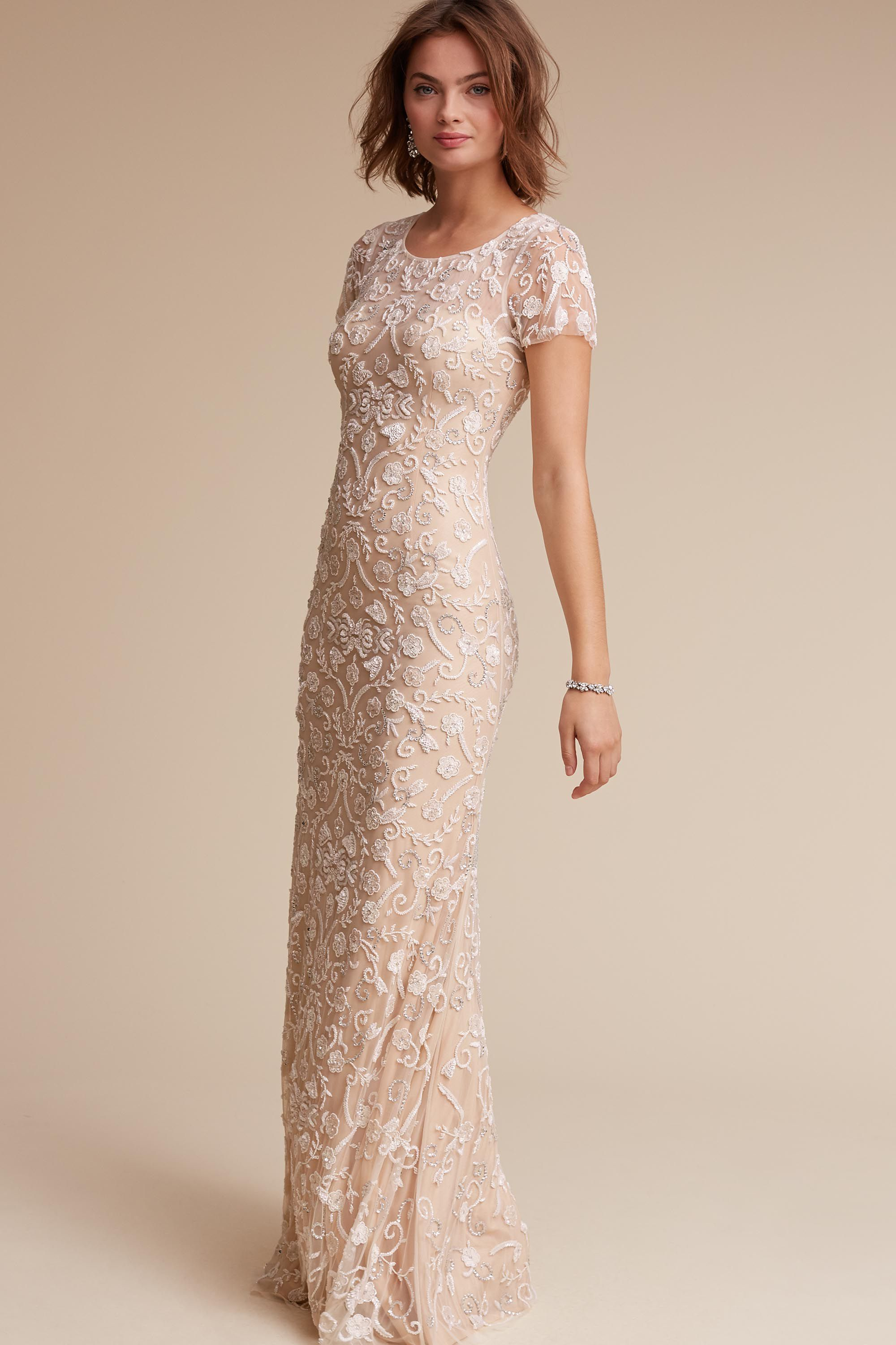 Wedding Dress For Love Essex Gown Hand Beaded Silver Clusters Create A Stunning Motif In This Exquisite Column Featherlight Cap Sleeves Semi Sheer