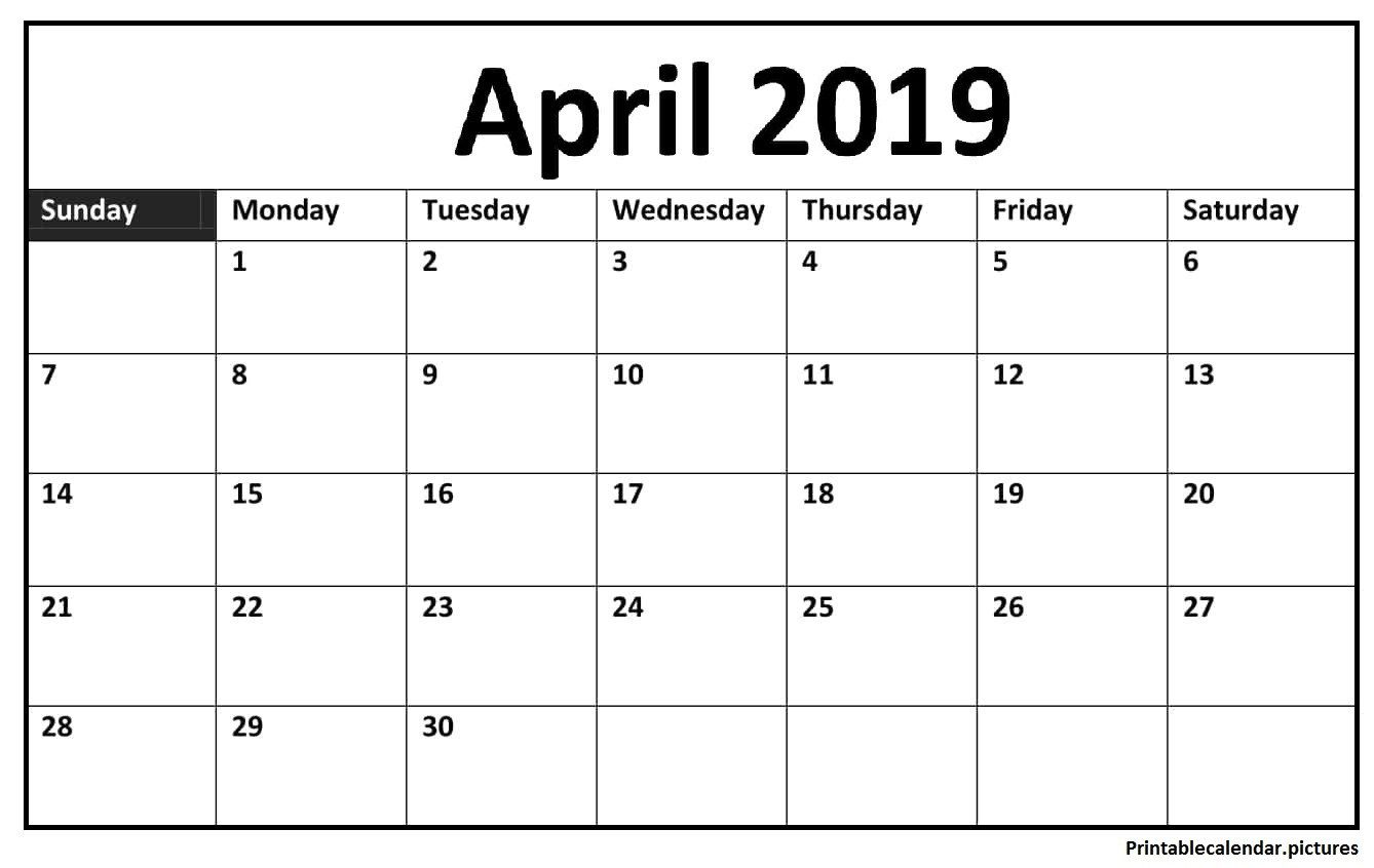 April 2019 Calendar Printable Template In Pdf Word Notes Excel