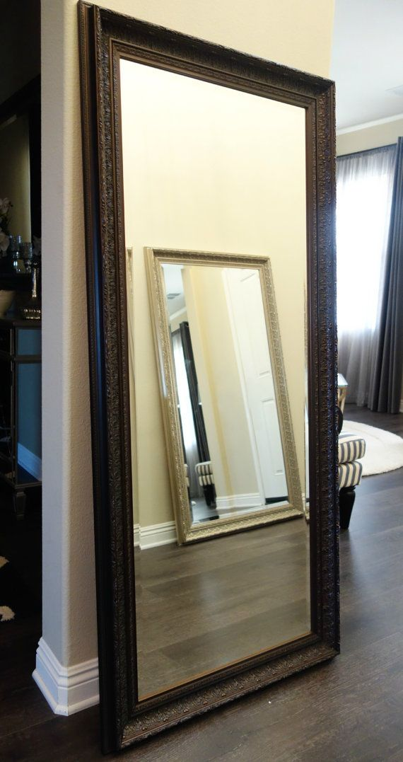Elegance Ornate Embossed Wood Framed Floor Mirror Bronze 31\