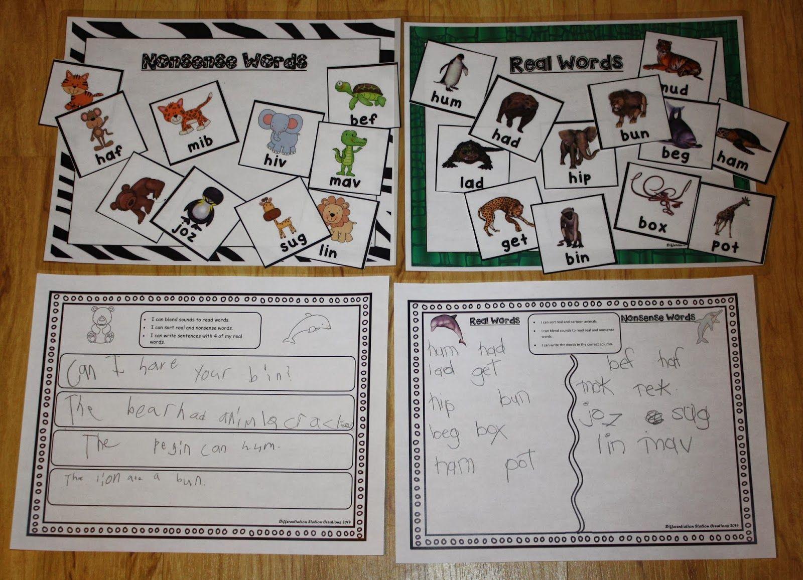 Sorting Cvc Words Real And Nonsense Words Kindergarten