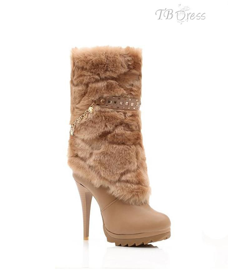 Noble All-matched Stiletto Heel Martin Warm Beige Boots : Tbdress.com