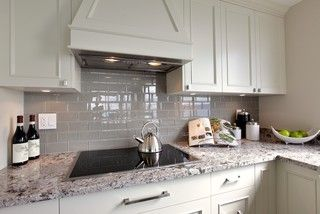 Luna Pearl Granite White Cabinets Brushed Nickel Hardware White