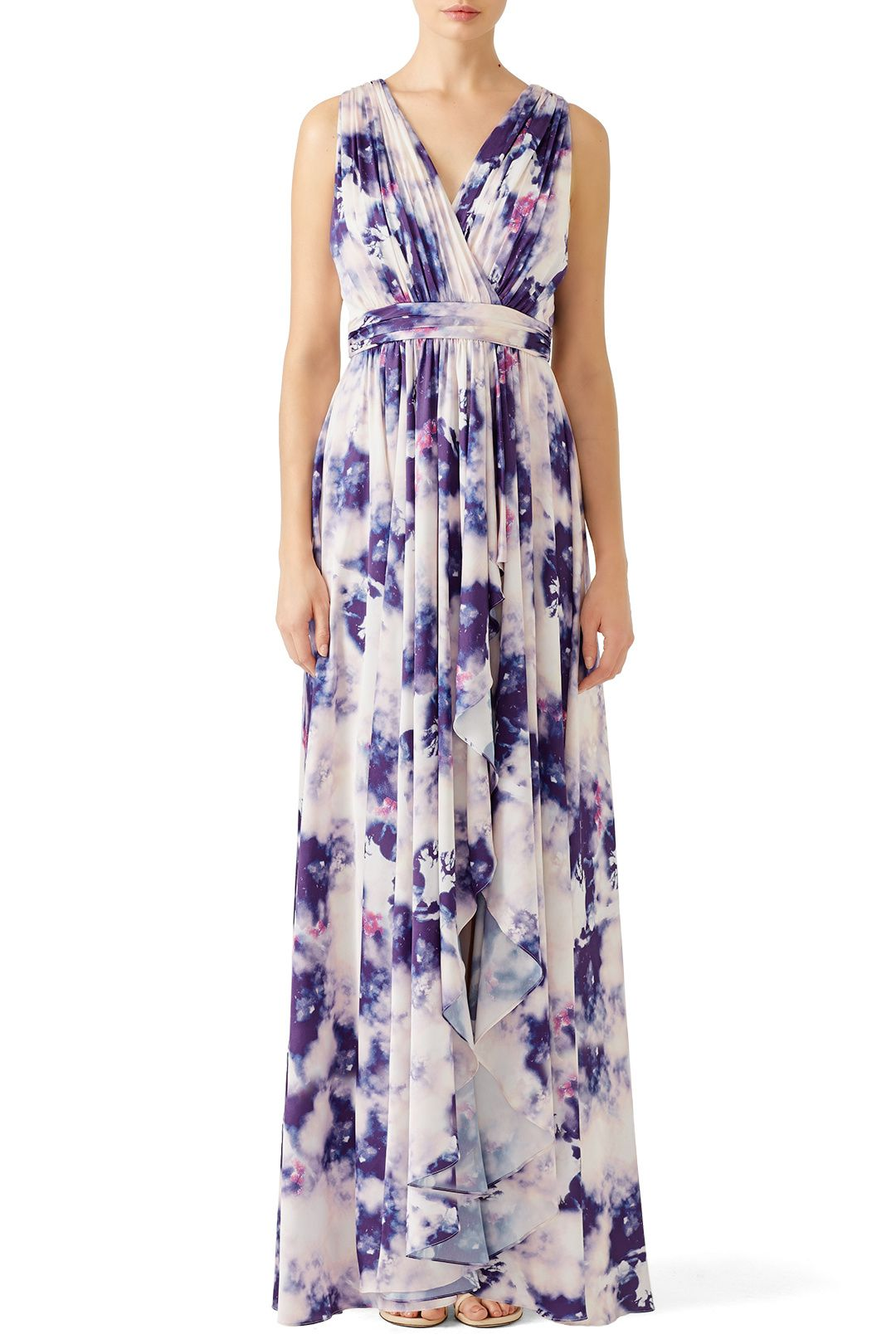 Rent Purple Cloud Printed Maxi by Badgley Mischka for $85 - $105 ...