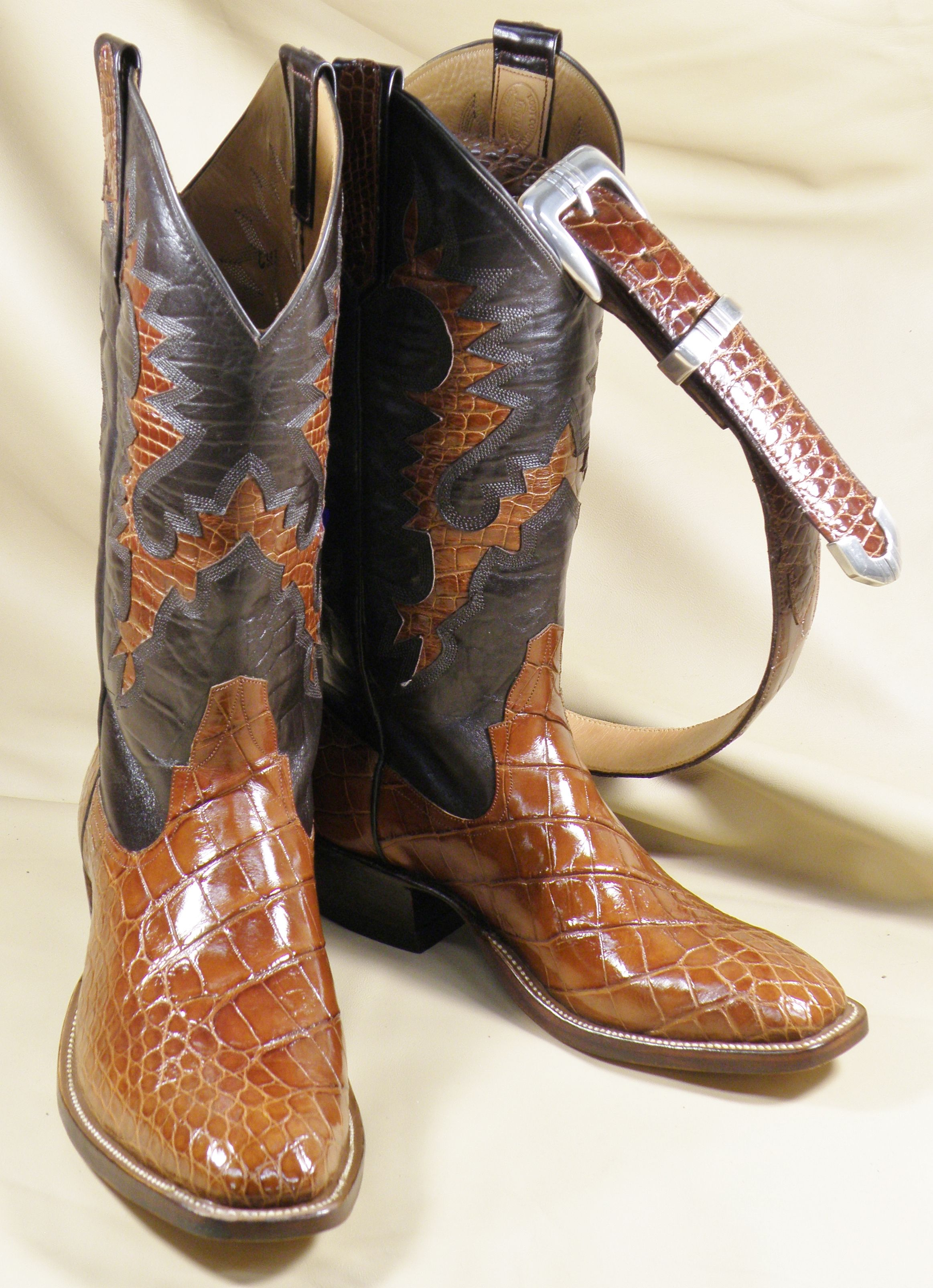 The Only Thing Better Than Custom Alligator Boots Is Alligator Boots With A Matching Belt Cognac Alligator Cus Leather Western Boots Boots Custom Cowboy Boots