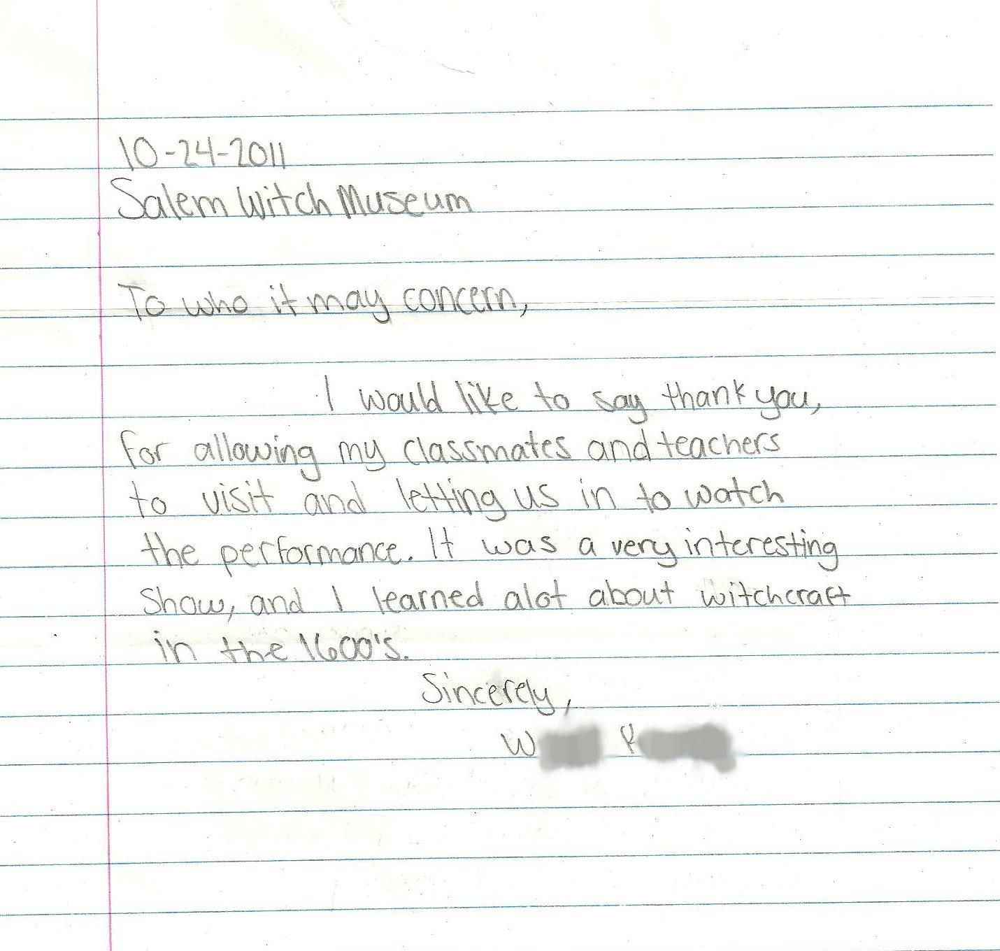Student Thank You Letter | Behind the Scenes | Pinterest | Letter ...