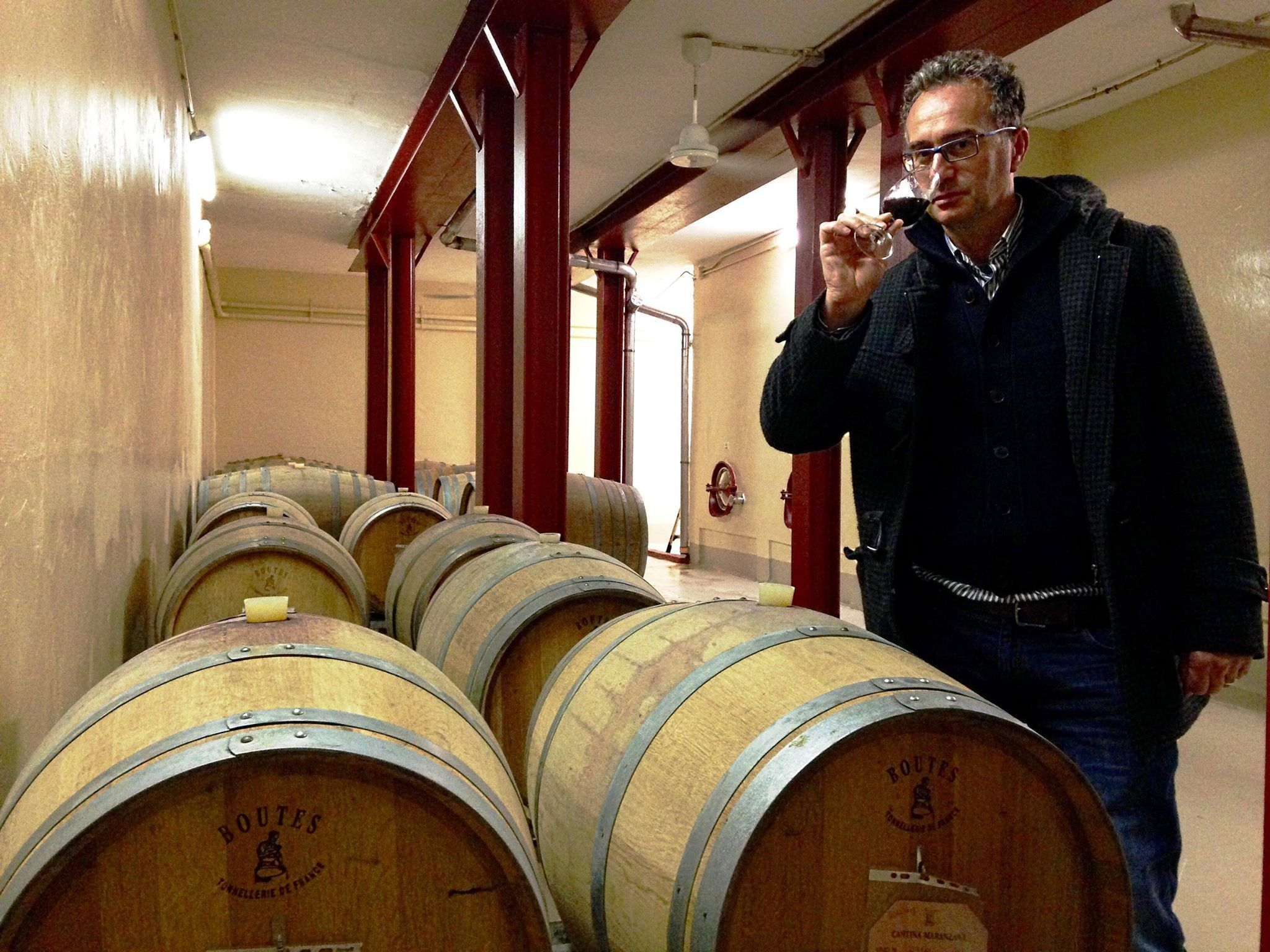 Our winemaker, Massimo Corti, tasting the Albarossa aged