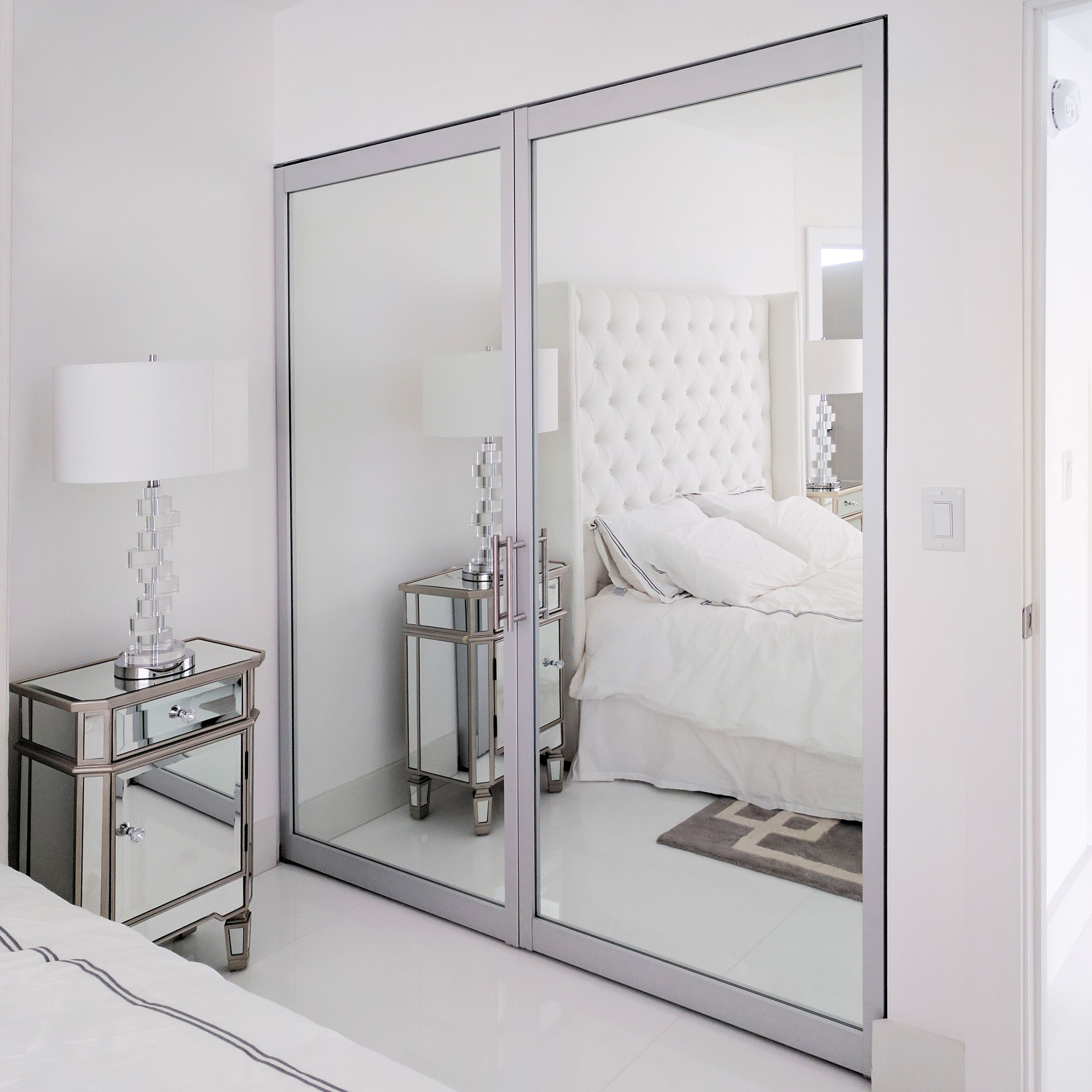 Double Swing Door With Mirrored Glass Silver Frame And Designer