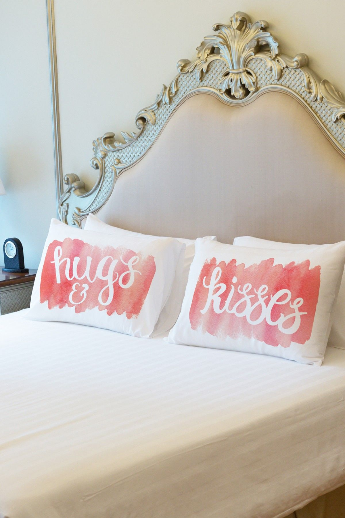 Hugs kisses script pillowcase set of pink on hautelook