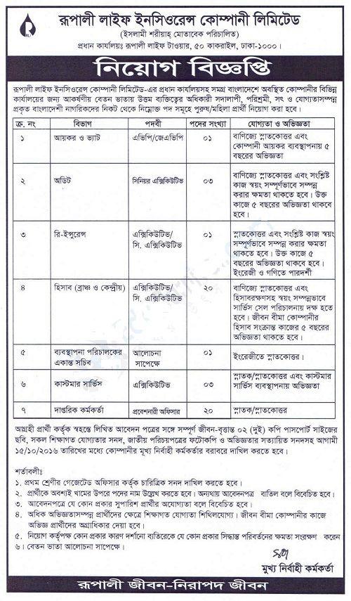 Rupali Life Insurance Company Ltd Job Circular 2016 Rupali Life
