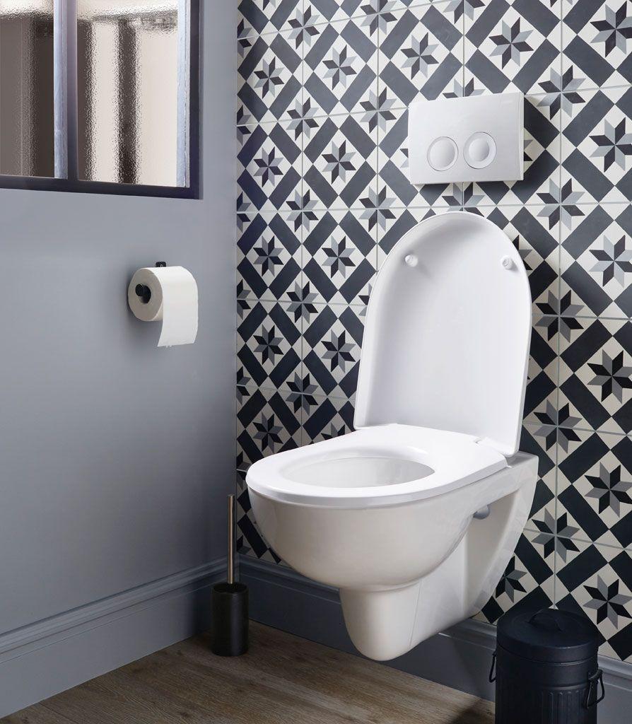 Des Carreaux De Ciment Meme Aux Toilettes Wc Suspendu Idee Deco