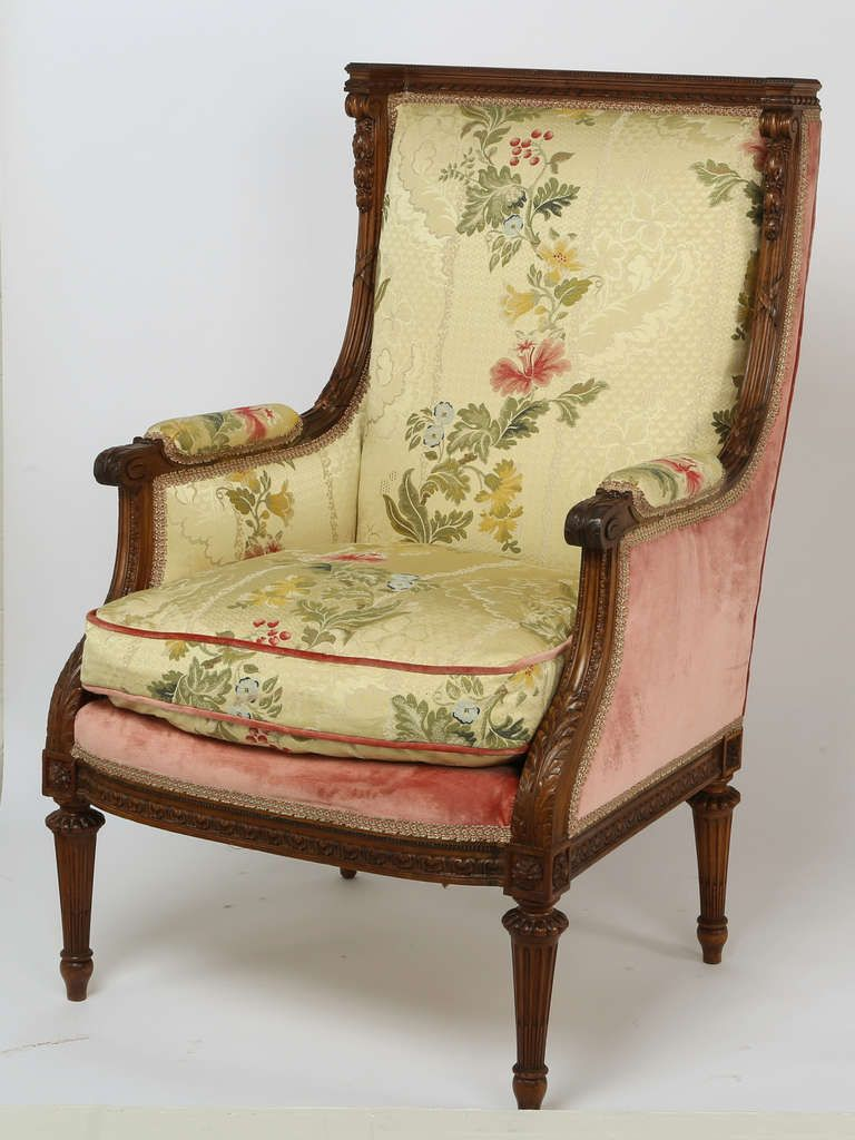 1930s French Arm Chair and Ottoman