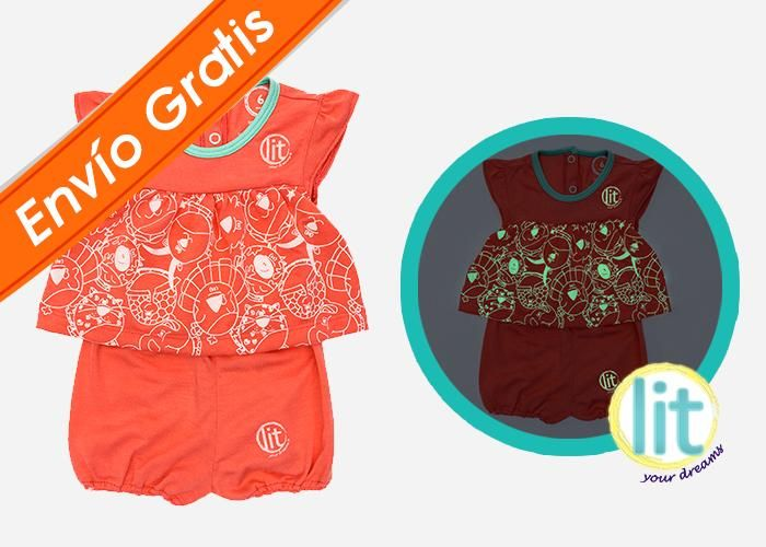 Baby Girl Set Coral #pijamas #bebes #niños #lit #babies #kids #night #clothes #brillan #noche #pants #jersey #sleepwear #enviogratis