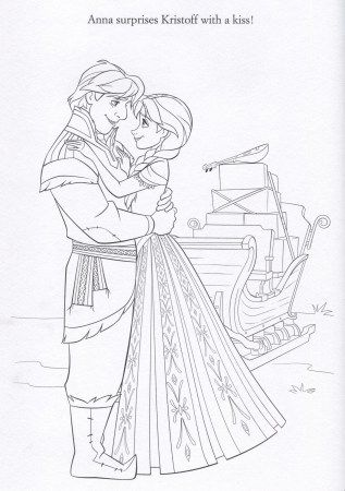 FROZEN Anna Kristoff Coloring Page
