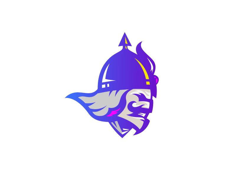 Purple Viking Logo Concept Warrior Logo Viking Logo Spartan Logo