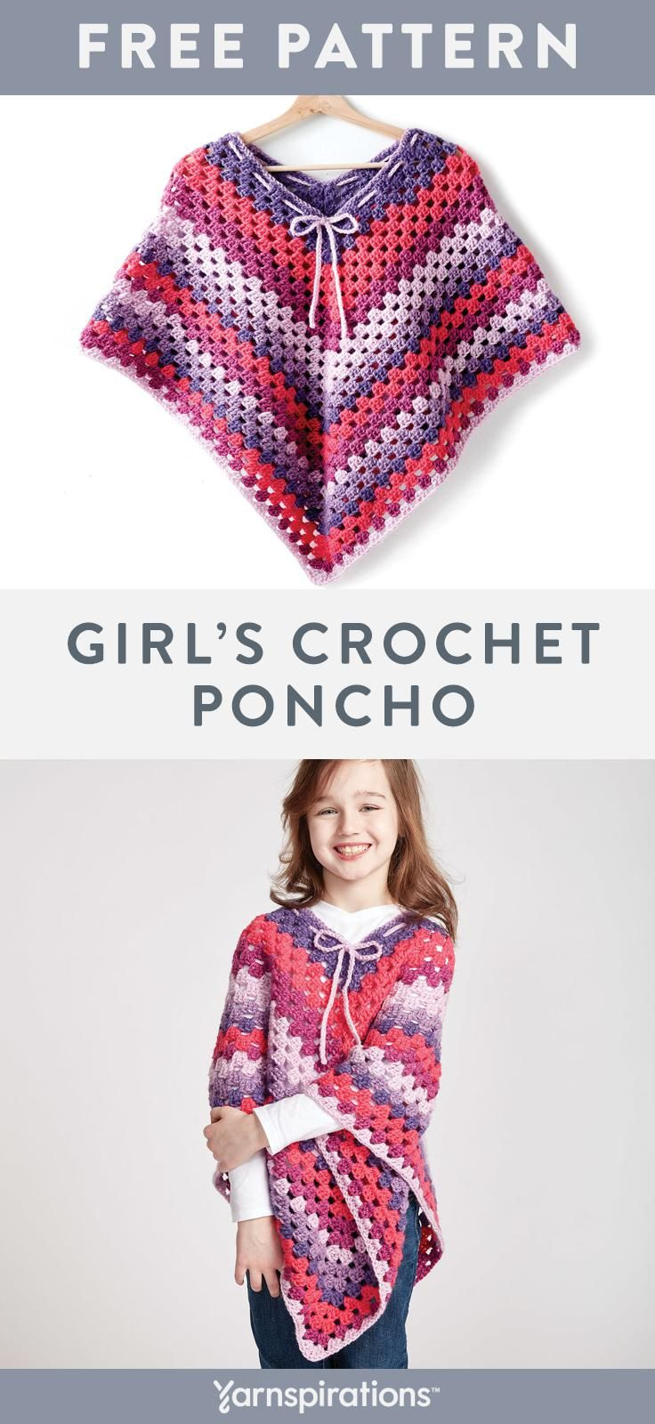 Free Easy Girl's Crochet Poncho Pattern | Bernat Pop! features 5 distinct shades to create beautiful color transitions effortlessly. This comfy poncho cascades with a lovely drape that moves as she does, making it a stylish essential for any young fashionista. #Yarnspirations #Bernat #BernatPop #FreeCrochetPattern #Crochet #crochetponchokids