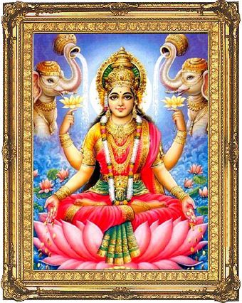 Lakshmi, the Hindu Goddess of wealth and prosperity.