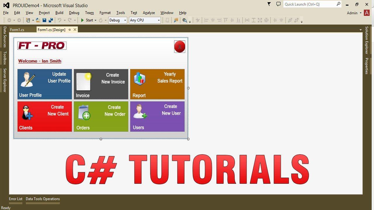 C# Tutorials - Create Custom/Professional UI in WinForms app   C#