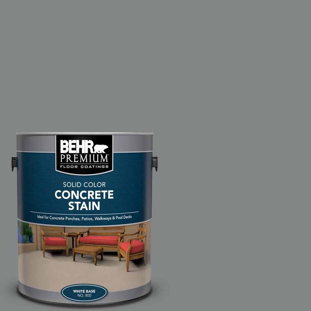 Behr Premium 1 Gal Pfc 63 Slate Gray Solid Color Flat Interior Exterior Concrete Stain Stained Concrete Behr Concrete Stain Concrete Floor Coatings