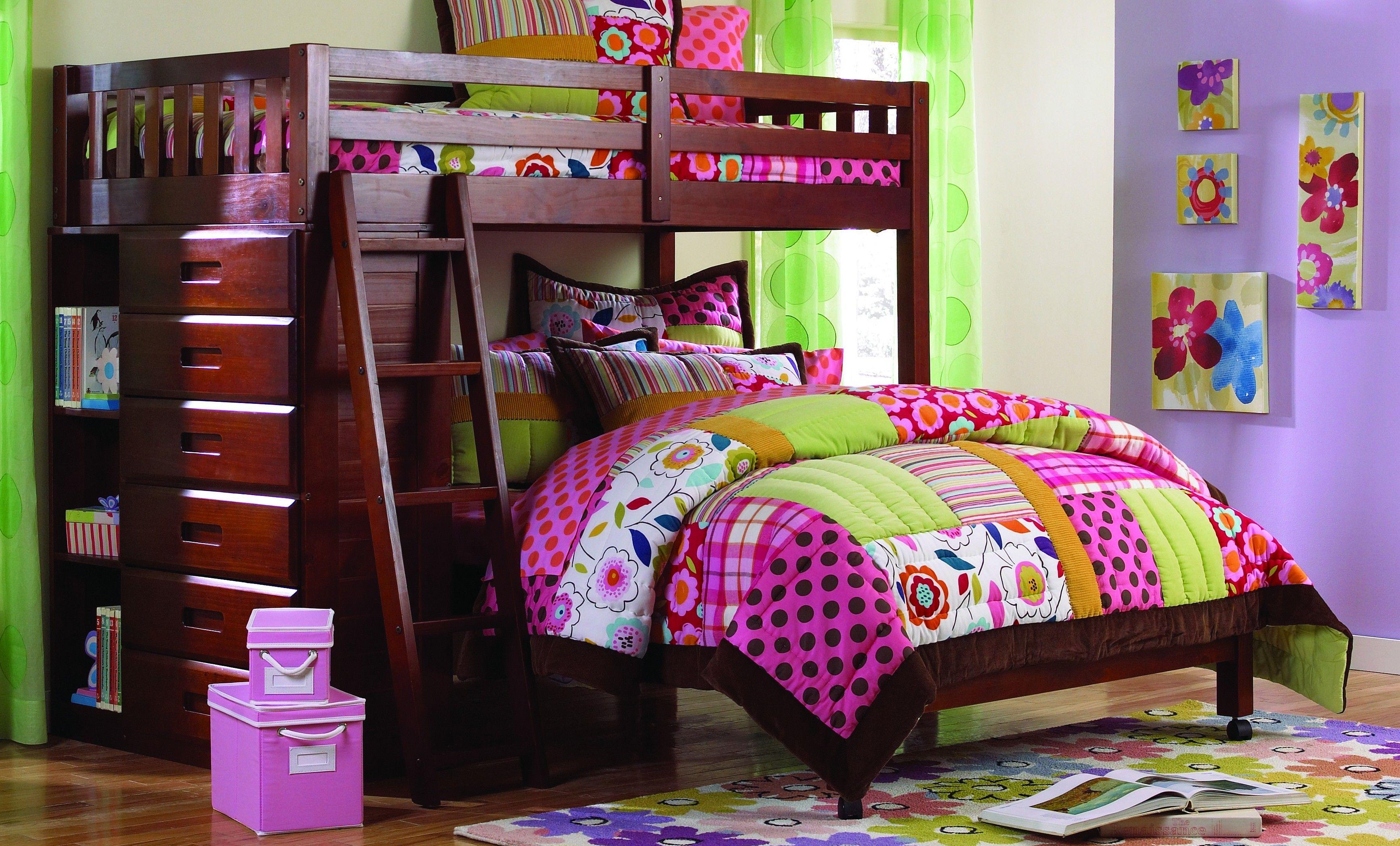Solid Wood Acadia Twin Over Full Loft Bed Loft bunk beds