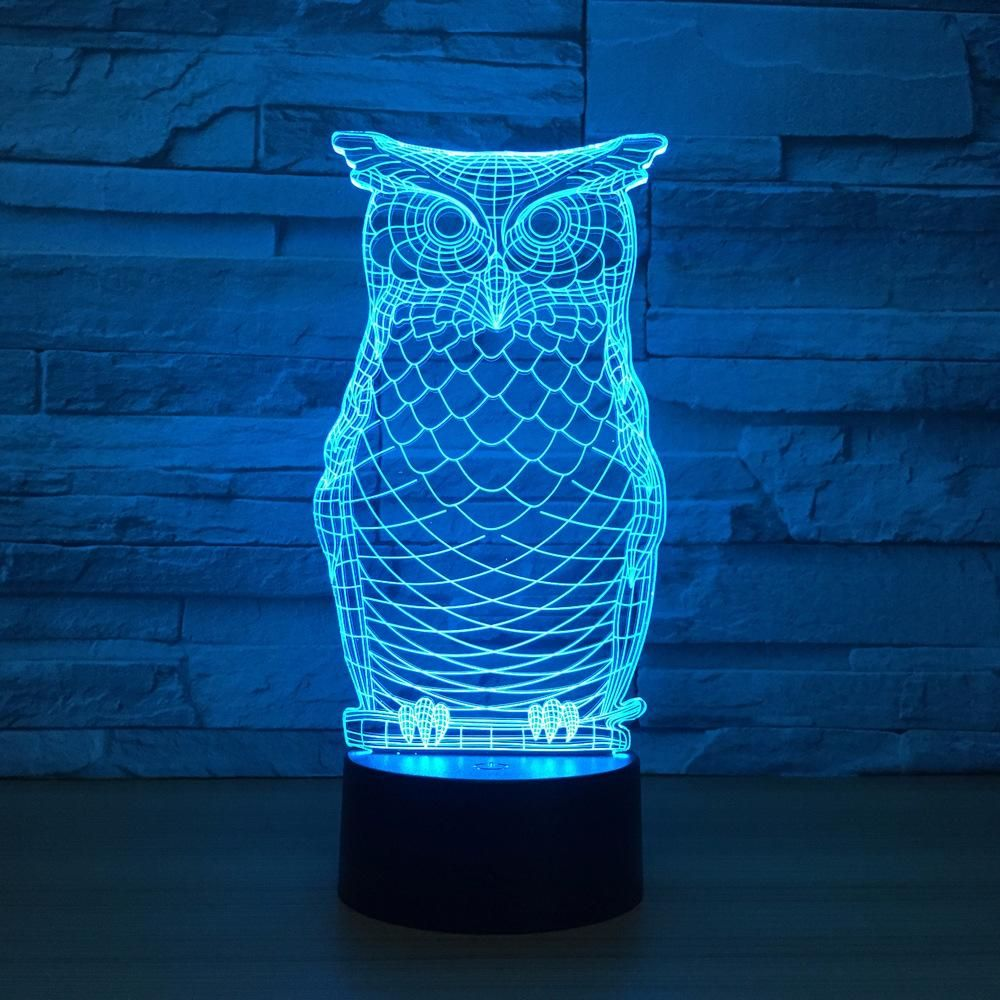 Adorable Owl 3d Optical Illusion Lamp In 2020 Night Light Lamp 3d Optical Illusions Laser Engraved Acrylic