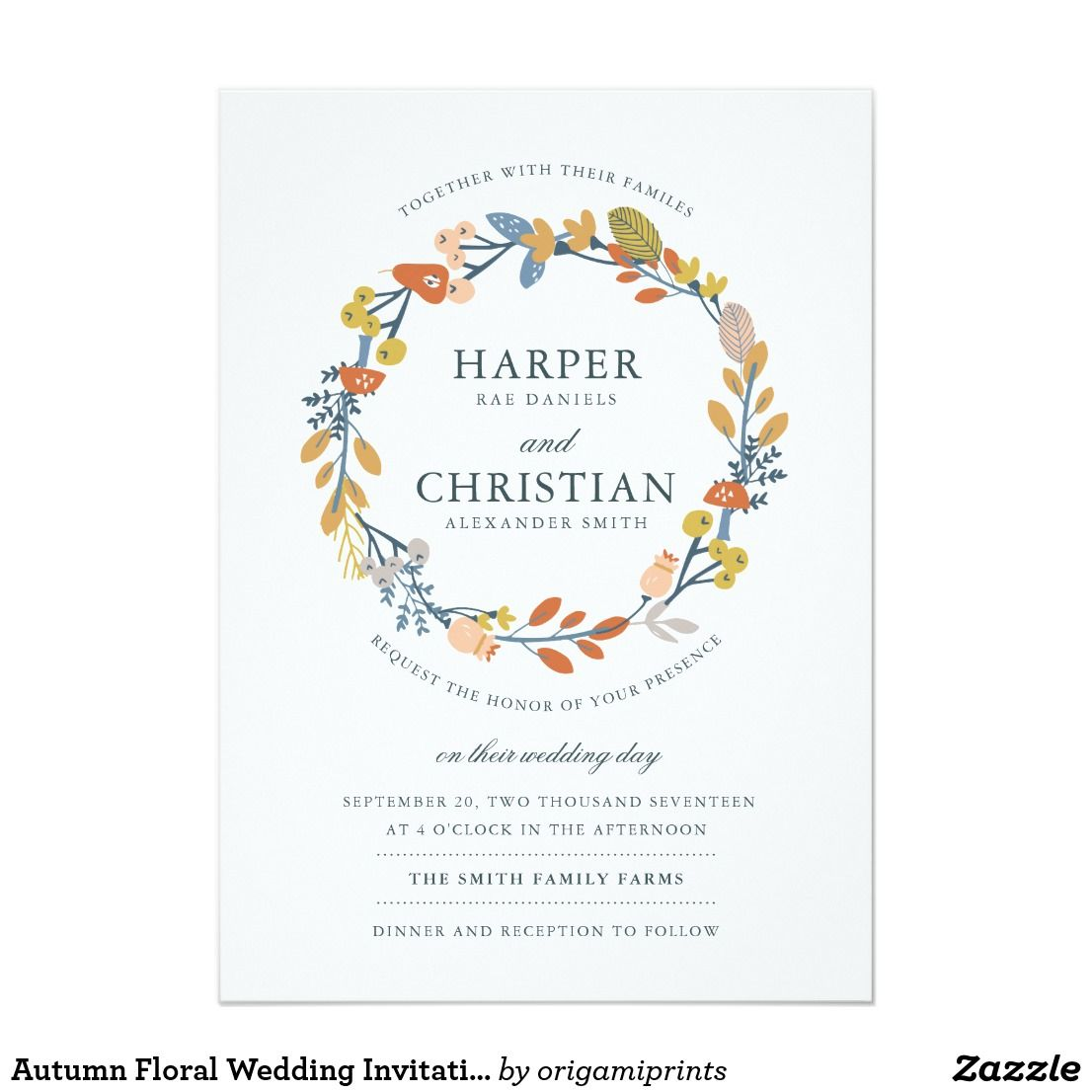 Autumn Floral Wedding Invitation | Pinterest | Themed weddings ...