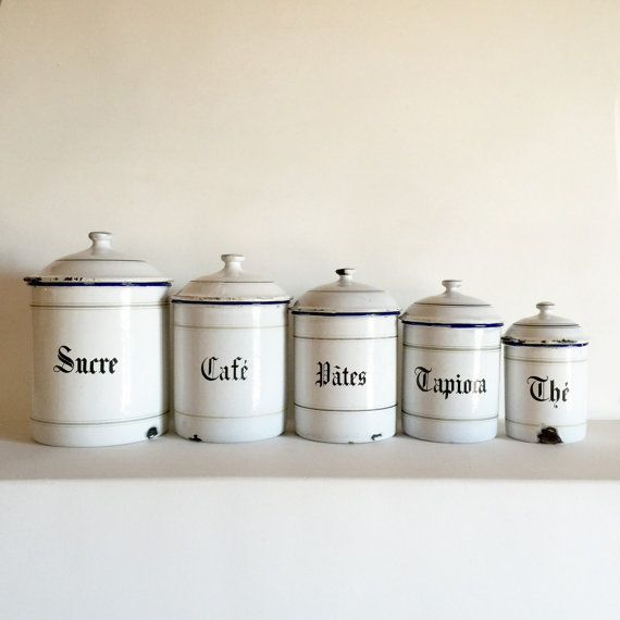 French Enamel Canister Set Of 5 White By Lavieenpastis 195
