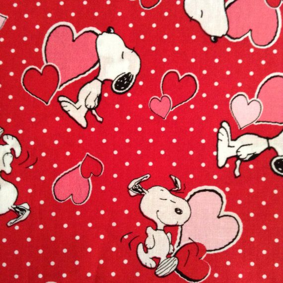 One 33 Inch Piece Of Fabric Material Valentine Snoopy Red
