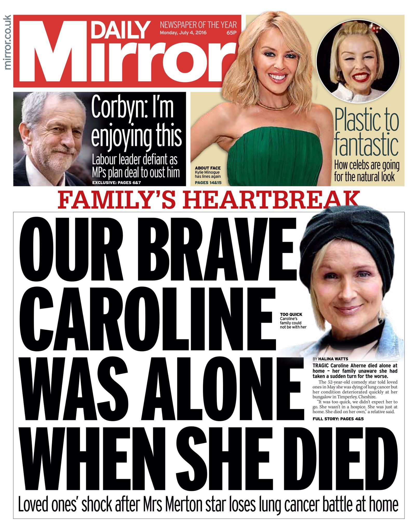 Monday's Daily Mirror front page: Our brave Caroline was alone when she died #tomorrowspaperstoday #bbcpapers https://t.co/HzkYPMUyoy