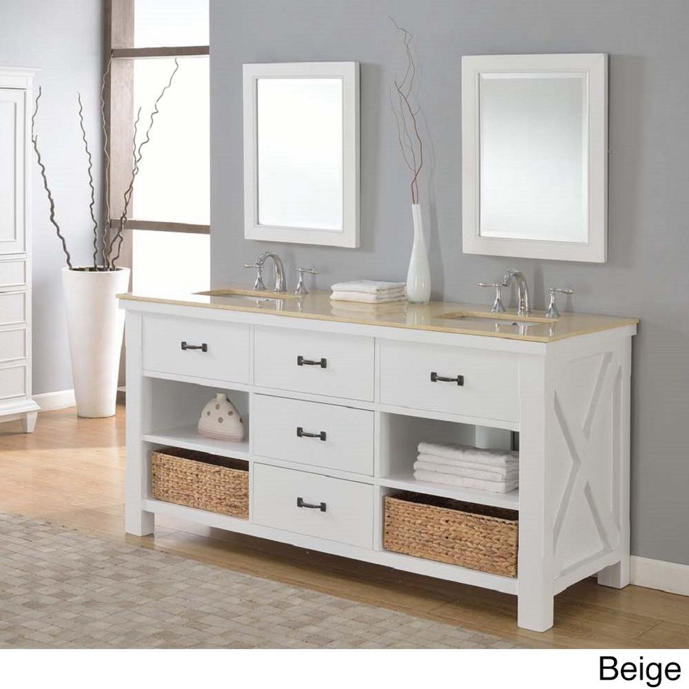 Direct Vanity 70 Inch Pearl White Xtraordinary Spa Double Vanity
