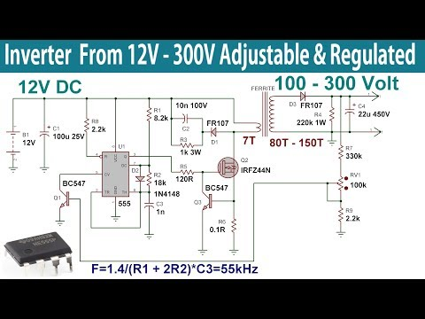 Inverter From 12v To 300v Regulated And Adjustable High Voltage Power Supply Youtube In 2020 High Voltage Power Supply Circuit Regulators