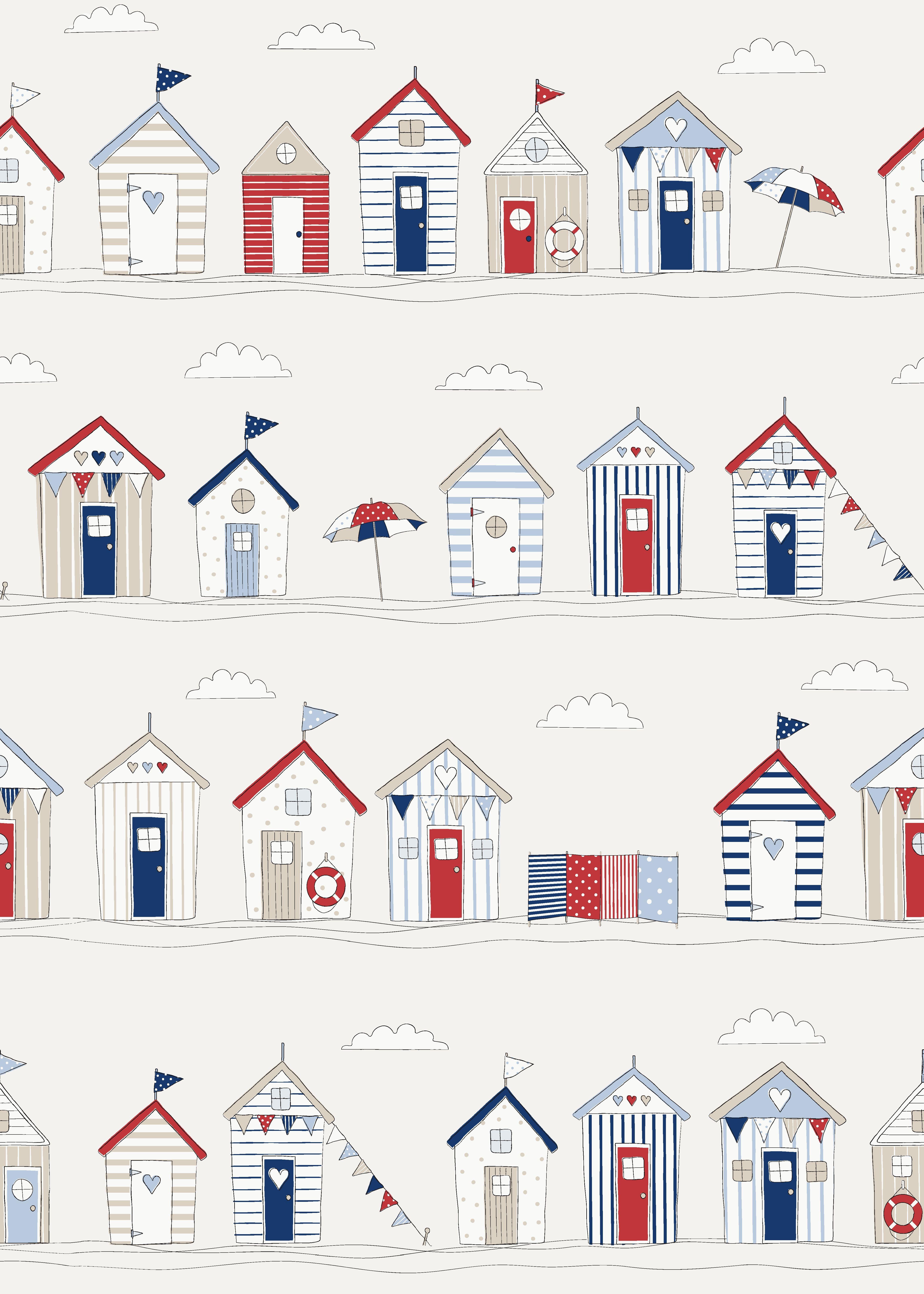 Fryett S Fabrics Beach Huts Seaside Beach Seaside Blue Curtains