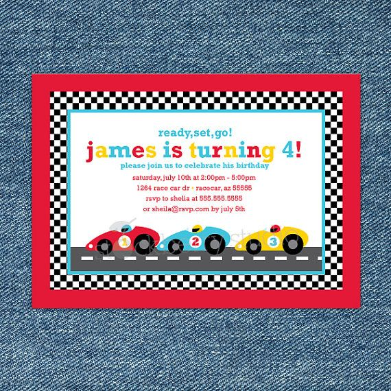 Race car birthday invitation printable race car 1st birthday red race racing car birthday printable invitation party 5x7 invitations format filmwisefo