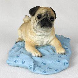 PUG dog fawn lays on blue blanket figurine resin MEDIUM DFL18A  $22.94