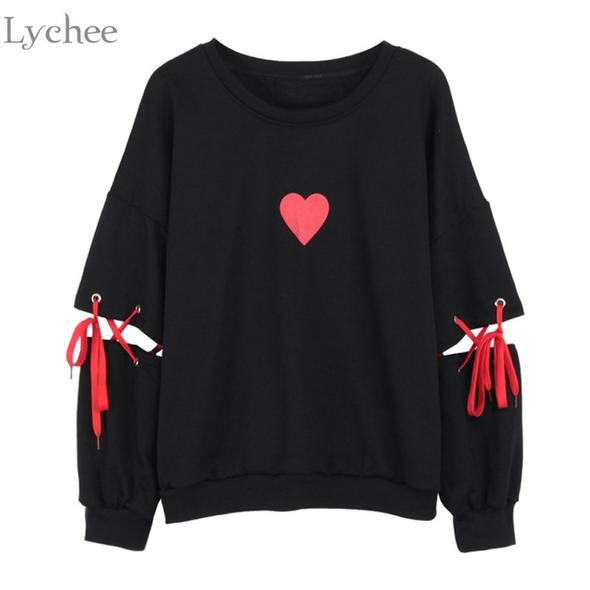 Lychee Spring Autumn Women Sweatshirt Heart Print Lace Up Casual Loose Long Sleeve Pullover Cute Tracksuit #kawaiiclothes