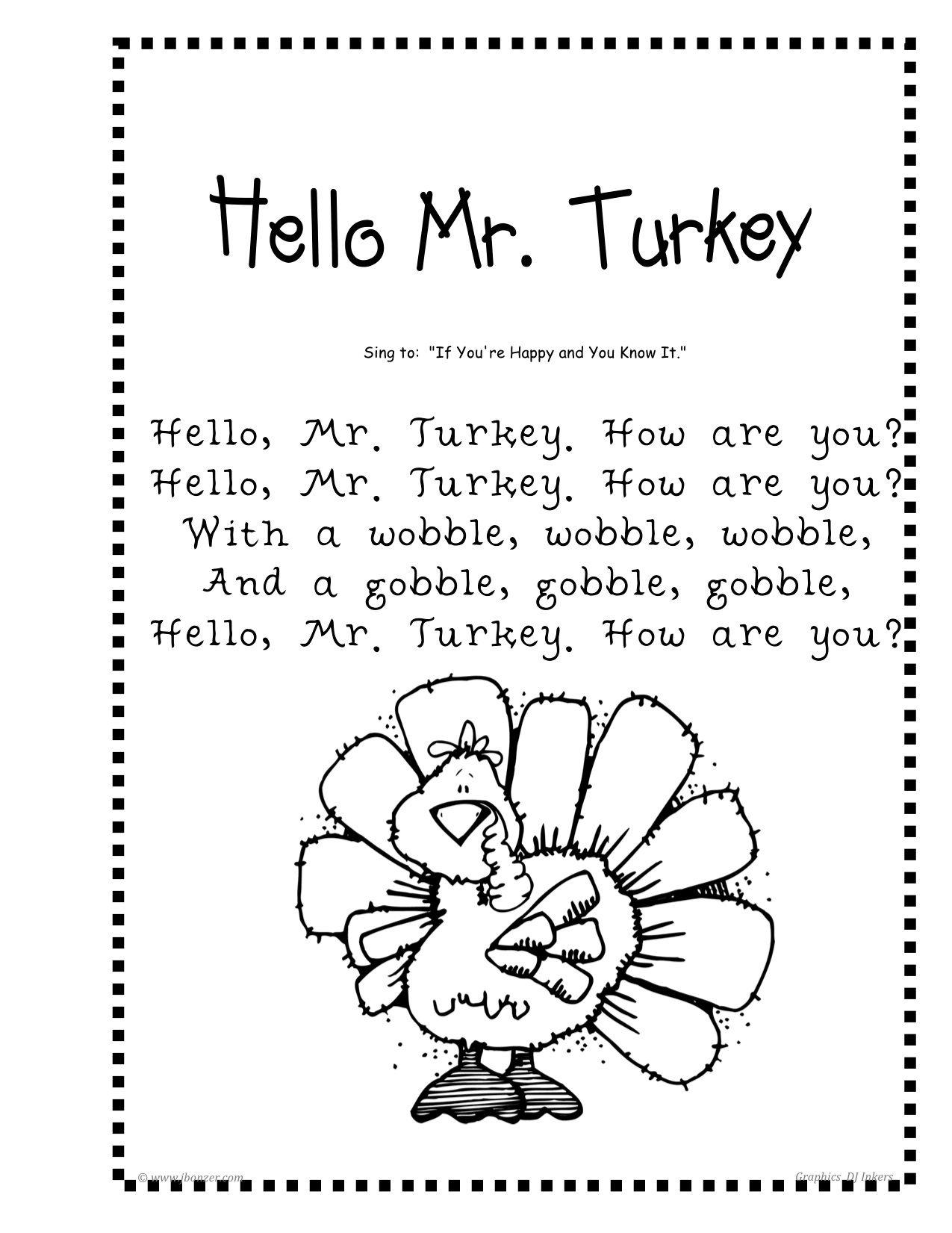 Hello Mr Turkey Poem