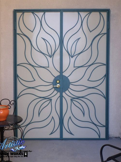 Flame Security French Doors Sun Themed Wrought Iron Security