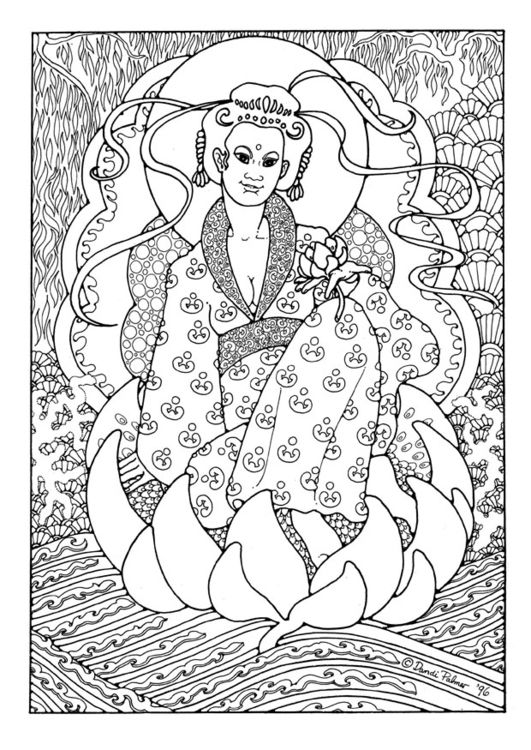 Kleurplaat Coloring page KuanYin | Coloring | Pinterest | Colores ...