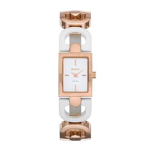 Rose Gold   White Ceramic DKNY Watch  7c645da6897
