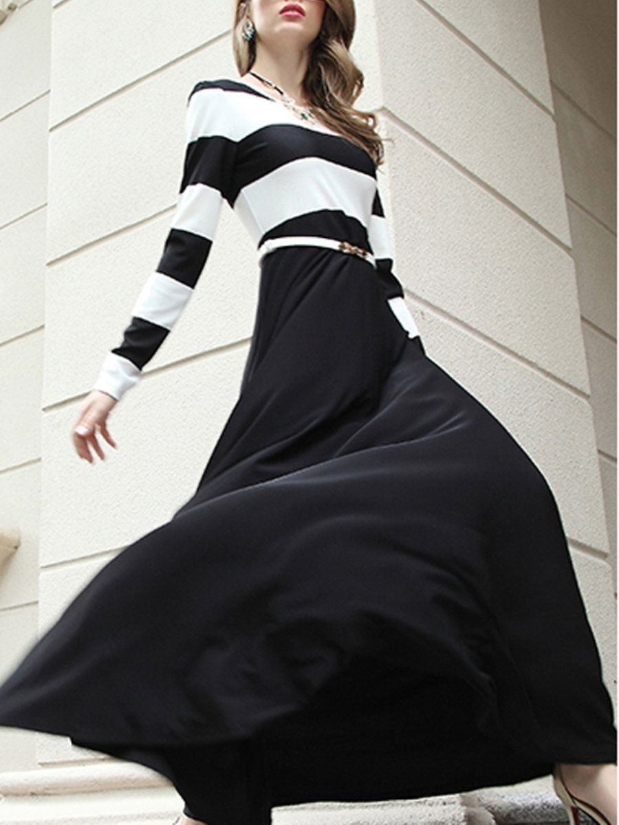 Diff rentes black printed stripes long sleeve maxi dress designers