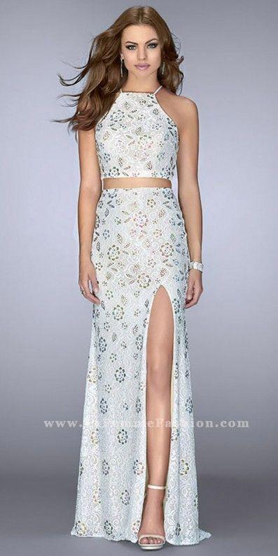 La Femme Multi Color Rhinestone Lace Up Back Two Piece Prom Dress ...
