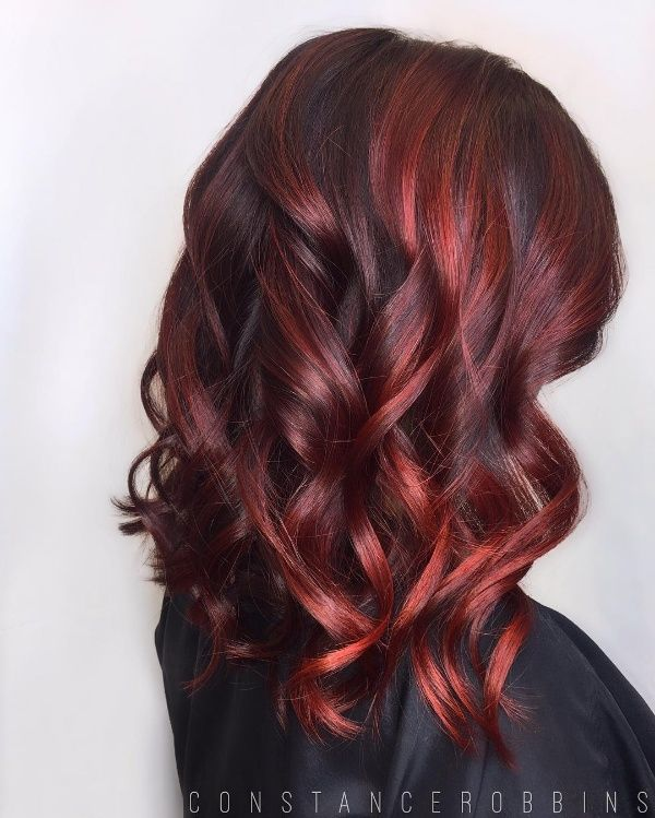 Black Hair With Dark Red Highlights In 2019 Red