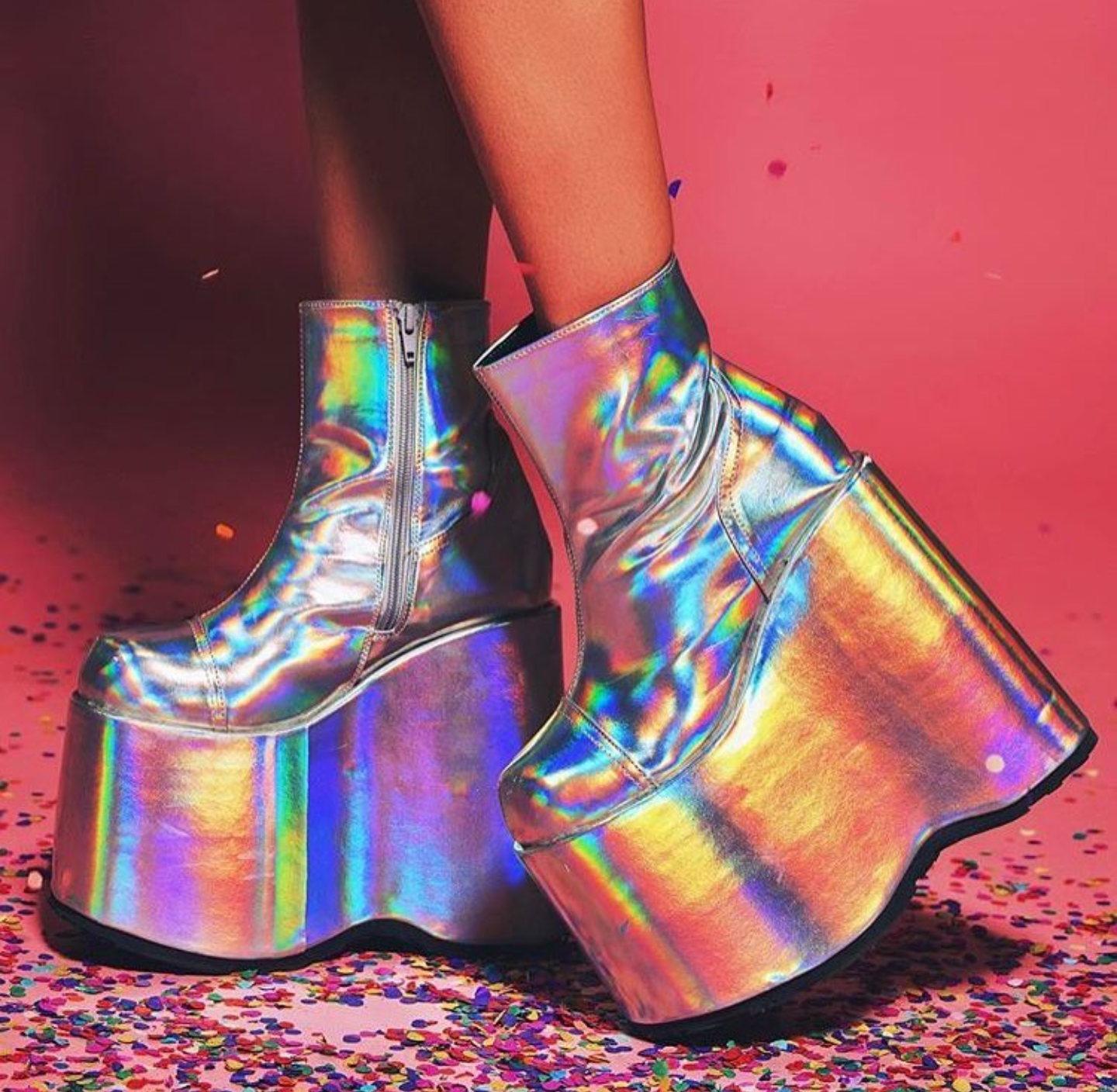 e4dcd41d029 We are OBSESSED with the SLAY-204  holographic Demonia platform boots