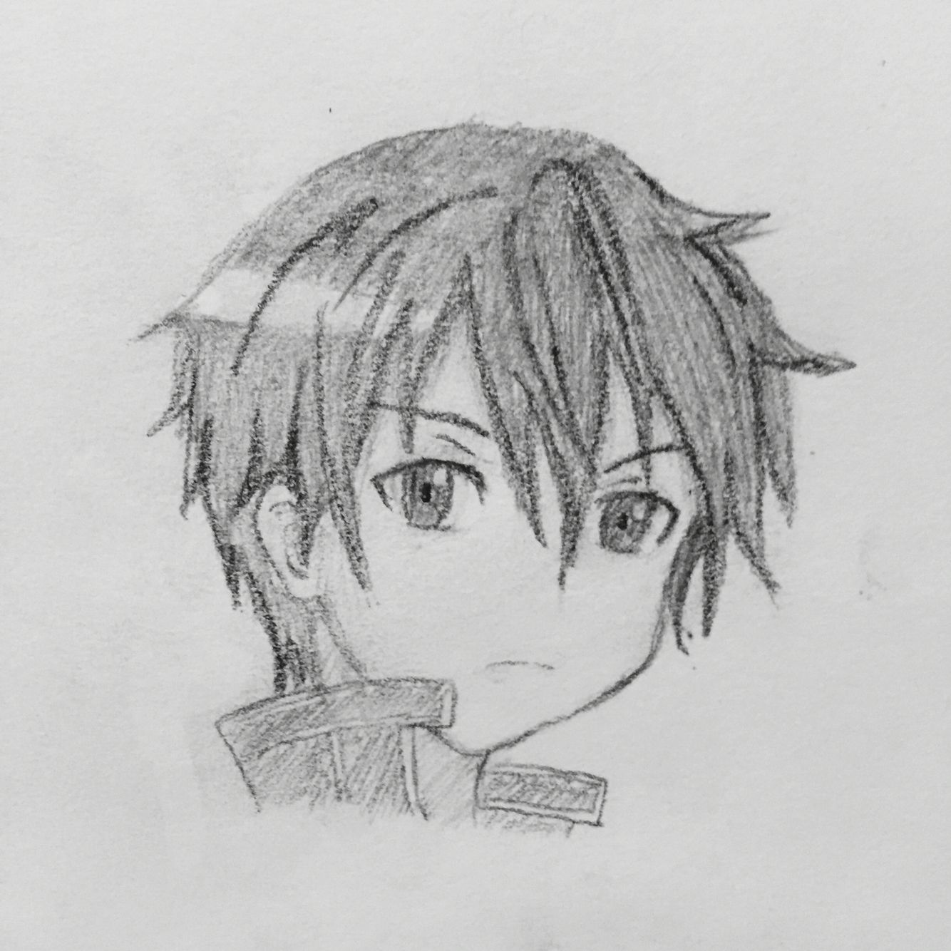 I sketched Kirito from Sword Art Online. I tried to shade nicely but ...