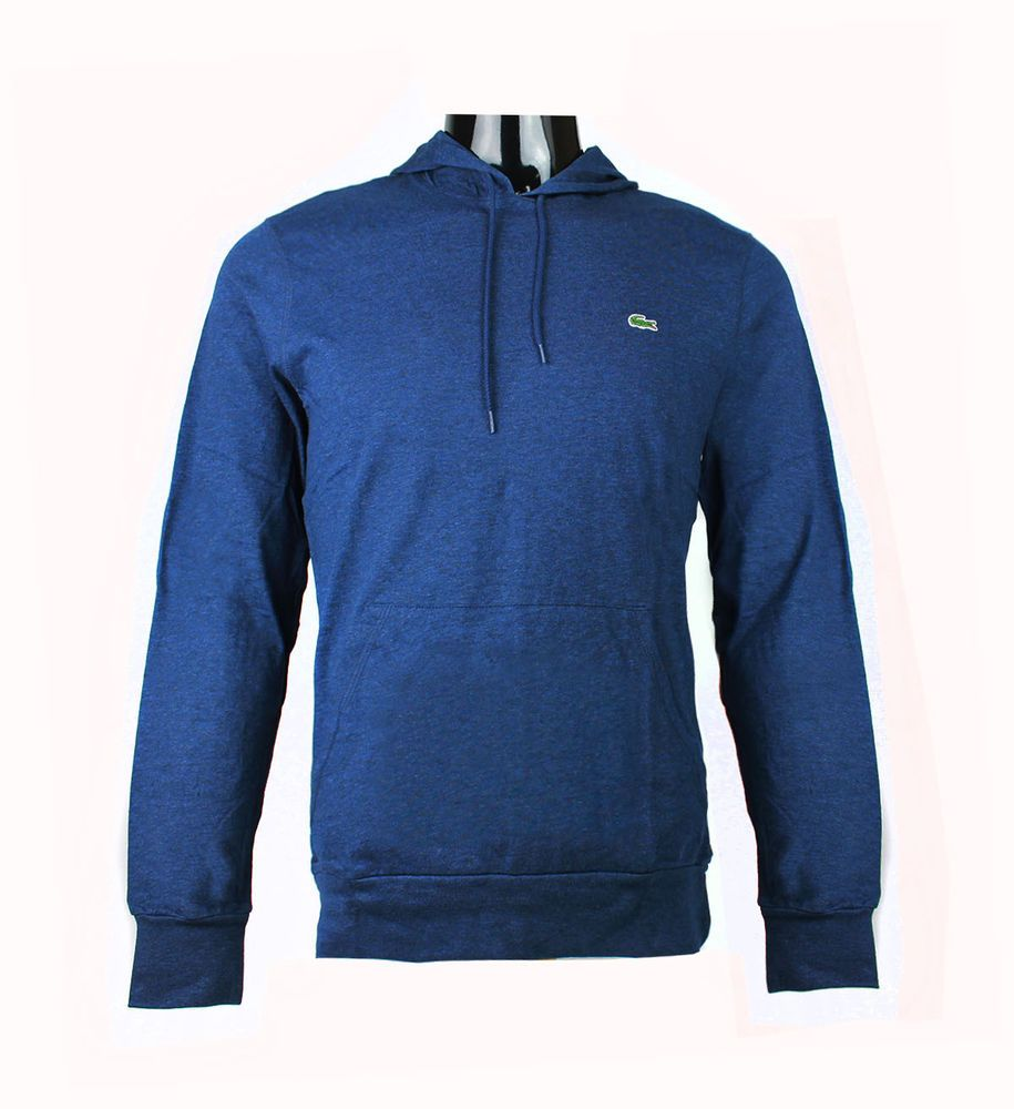 New Lacoste Brand Men/'s TH1485 Navy Pullover Jersey Hoodie  Sweater T Shirt