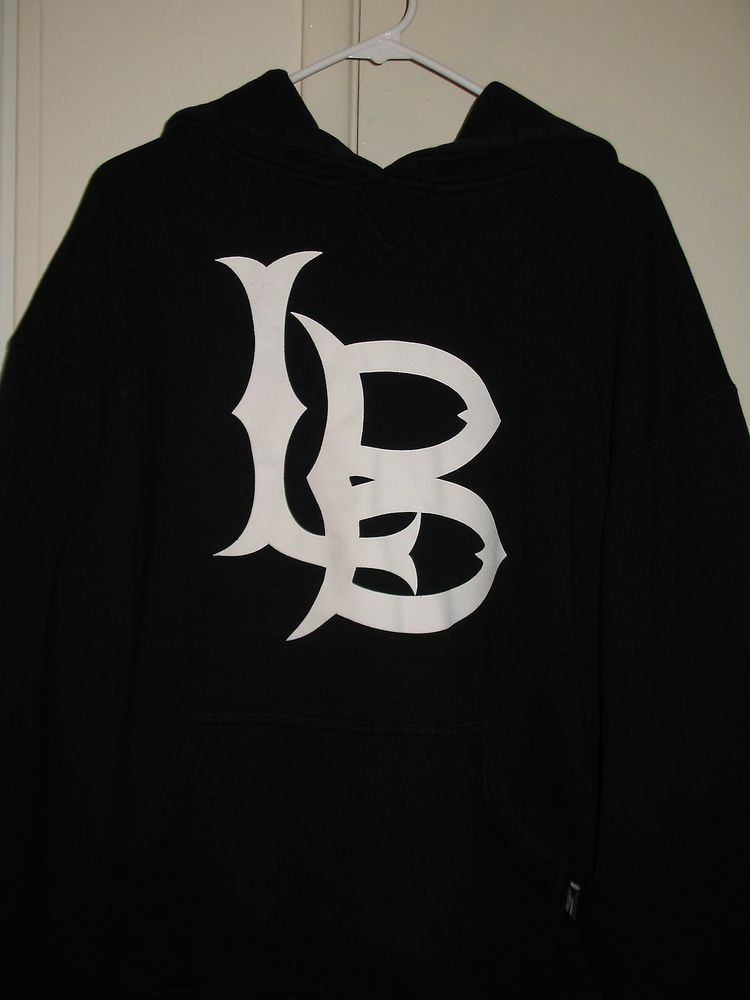 c2acd48fdfd California State University Long Beach CSULB Black   White Hooded Sweater  Medium  Pro5  Hooded