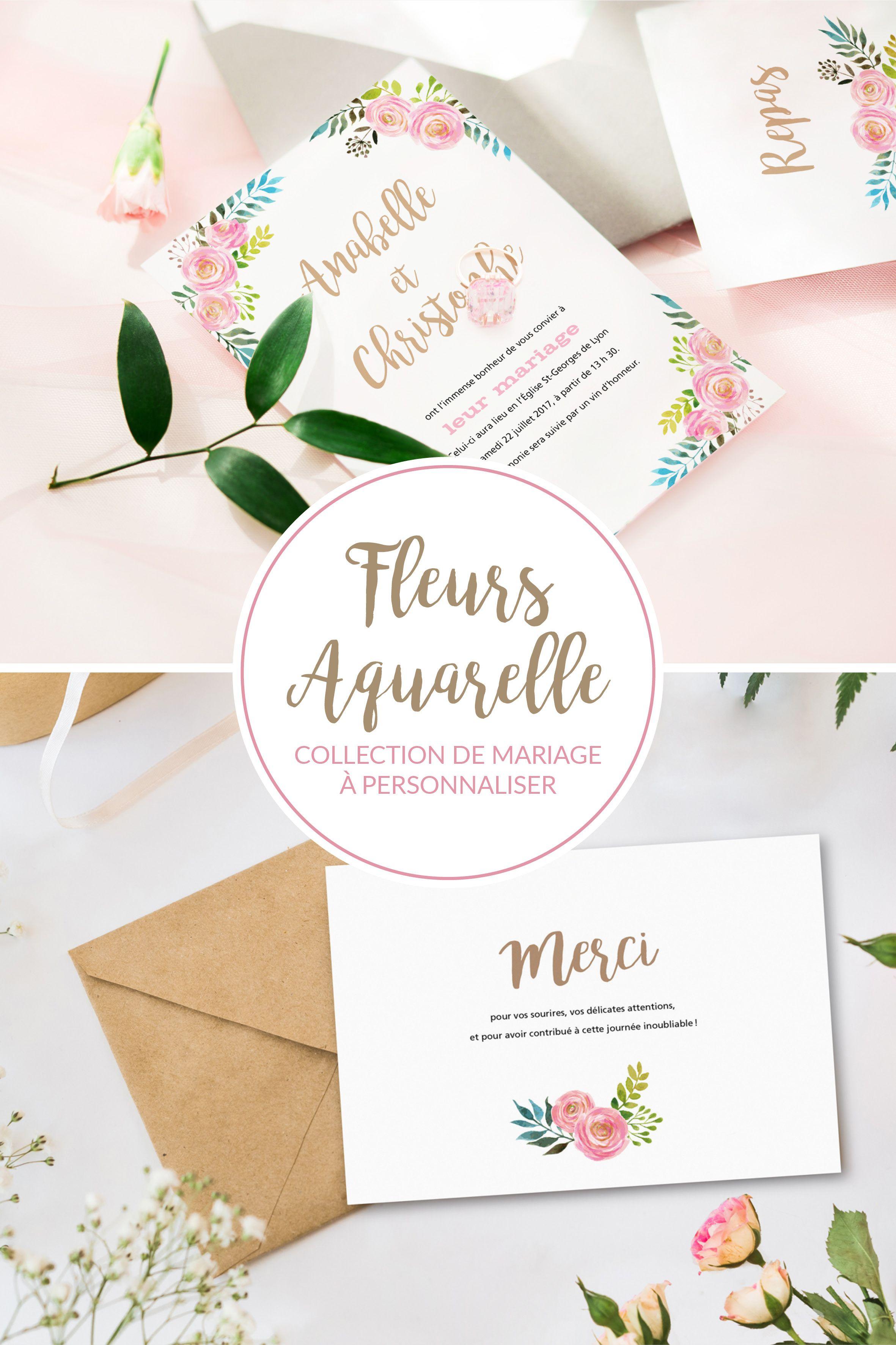 """Collection de papeterie de mariage """"Fleurs Aquarelle"""" posée de"""