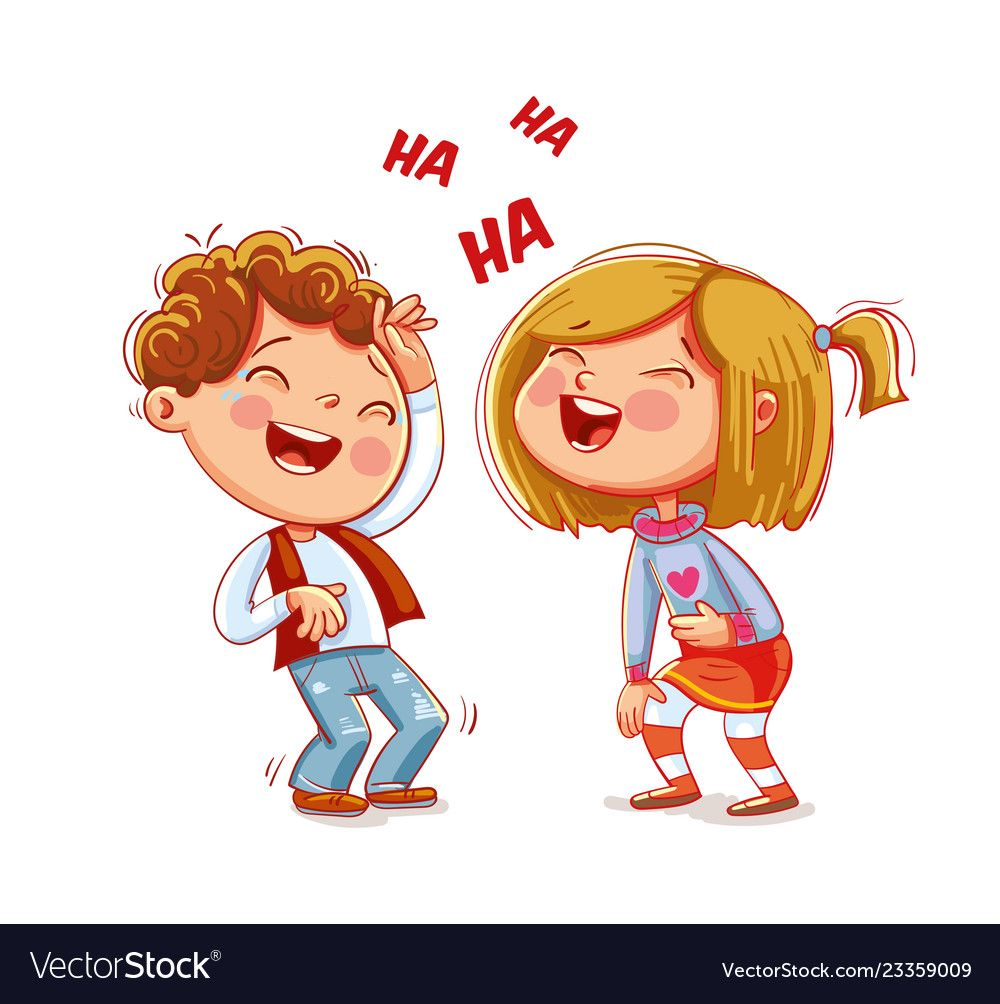 Children laugh fun funny cartoon character vector image on ...