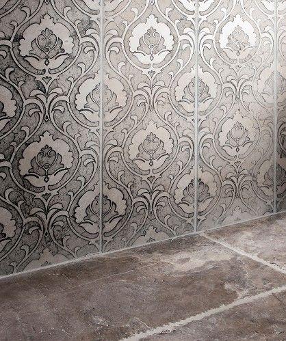 Sophia Dove Damask Grey Topps Tiles Topps Tiles Patterned Kitchen Tiles Damask Wall
